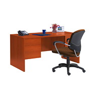 Global Genoa Double-Pedestal Desk, Avant Honey, 60