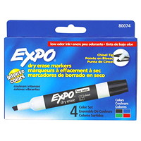 Expo Low-Odour Dry-Erase Marker, Assorted Colours, Chisel Tip, 4/PK