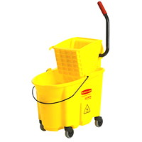 Rubbermaid Commercial WaveBrake High-Performance Mop Bucket And Wringer System, Yellow, 35-Qt, Side Press