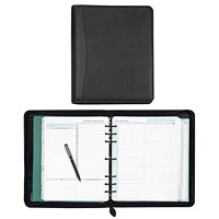 Day-Timer Faux Leather Zippered Daily Organizer/Planner Starter Set, 8 1/2