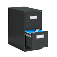 Global 2600 Series Economy Vertical File, 2-Drawer, Black, Letter Size