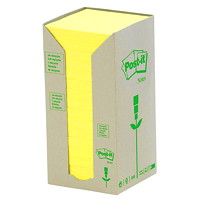 Post-it 100% Recycled Note Tower Packs in Canary Yellow Colour