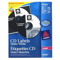 Avery 5584 Matte Permanent CD Labels, Matte White, 4 5/8
