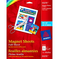 Avery Customizable Magnetic Sheets for Inkjet Printers, White, 8 1/2