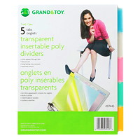 Intercalaires à onglets insérables transparents en poly Grand & Toy
