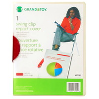 Grand & Toy Swing Clip Frosted Report Covers, Red Clip, 25/PK