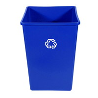 Rubbermaid Commercial Untouchable Container, Blue with Recycling Logo, 35-Gallon Capacity
