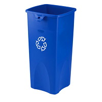 Rubbermaid Commercial Untouchable Container, Blue with Recycling Logo, 23-Gallon Capacity