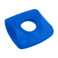Rubbermaid Commercial Untouchable Square Bottles/Cans Recycling Lid For 23 Gallon Containers, Blue