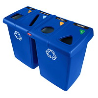 Rubbermaid Commercial Glutton 4-Stream Recycling Station, Blue