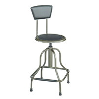 Safco Diesel Industrial Stool, With Back, Black
