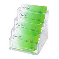 Porte-cartes professionnelles Grand & Toy, 4 compartiments, transparent