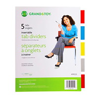 Grand & Toy Insertable Tab Index Dividers, Buff With Coloured Tabs, Letter-Size, 5-Tabs/ST, 1-Set/PK