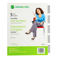 Grand & Toy Insertable Tab Index Dividers, Buff With Clear Tabs, Letter-Size, 5-Tabs/ST, 1-Set/PK