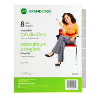 Grand & Toy Insertable Tab Index Dividers, Buff With Clear Tabs, Letter-Size, 8-Tabs/ST, 1-Set/PK