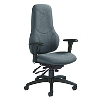 Global Tritek Multi-Tilter Chair, Executive Extended High-Back, Grey, Sprinkle Fabric
