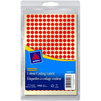 Avery Non-Printable Removable Colour-Coding Labels, Red, 1/4