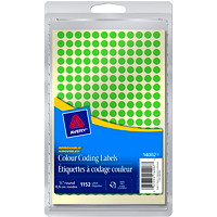 Avery Non-Printable Removable Colour-Coding Labels, Green, 1/4