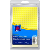 Avery Non-Printable Removable Colour-Coding Labels, Yellow, 1/4