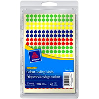 Avery Non-Printable Removable Colour-Coding Labels, Assorted Colours, 1/4