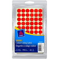 Avery Non-Printable Removable Colour-Coding Labels, Red, 1/2