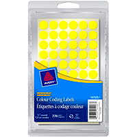 Avery Non-Printable Removable Colour-Coding Labels, Yellow, 1/2