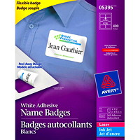 Avery 5395 Flexible Self-Adhesive Name Badge Labels, Matte White, 2 1/3