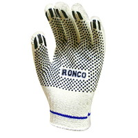 Ronco String Knit Gloves with PVC Dots, Large