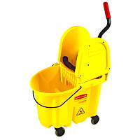 Rubbermaid Commercial WaveBrake High-Performance Mop Bucket And Wringer System, Yellow, 35-Qt, Down Press
