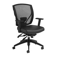 Offices To Go Ibex Mid-Back Multi-Tilter Ergonomic Chair, Black Luxhide Bonded Leather Seat/Mesh Back