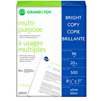 Grand & Toy Multi-purpose Bright Copy Paper, SFI Certified, 20 lb., 8 1/2