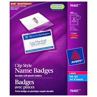 Avery Garment-Friendly Clip-Style Name Badge Kit, White, 2 1/4