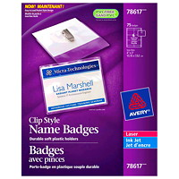 Avery Garment-Friendly Clip-Style White Name Badge Kit