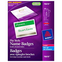 Avery Pin Style Name Badge Kit, 4