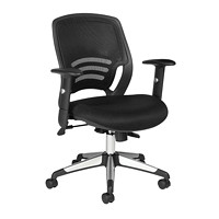 Offices To Go Pacer Mid-Back Synchro-Tilter Chair, Black Quilt Fabric Seat with Mesh Back