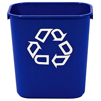 Rubbermaid Deskside Recycling Bin, Small, Blue with White Recycling Logo, 12.9 L Capacity