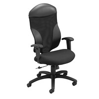Global Tye Mesh High-Back Tilter Chair, Black, Silhoutte Fabric Seat