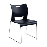 Global Duet Armless Stacking Chairs - Set of 2, Asphalt Black