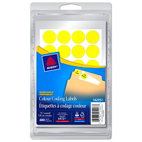Avery Removable Round Colour-Coding Labels, Yellow, 3/4