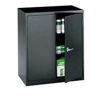 Global Economy Steel Storage Cupboard, Black, 42