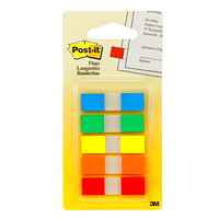 Post-it Standard Flags, With On-the-Go Dispenser, Assorted Colours, 1/2