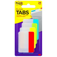 Post-it Durable Filing Tabs, Assorted Primary Colours, 2