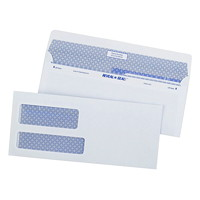 Quality Park Reveal-N-Seal Business Envelopes, Double Window, White with Security Tint, #9, 500/BX