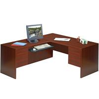 Global Genoa L-Shaped Double-Pedestal Desk, Mahogany, 66