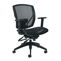 Offices To Go Ibex Mid-Back Multi-Tilter Ergonomic Chair, Black Mesh Seat and Back