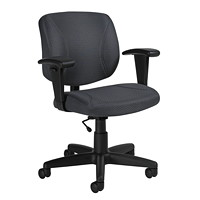 Offices To Go Yoho Low-Back Task Chair, Charcoal Grey, Quilt Fabric