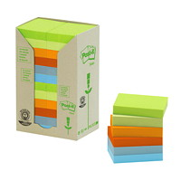 Post-it 100% Recycled Note Tower Pack in Assorted Colours, Rectangular, 1 1/2