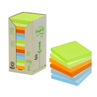 Post-it 100% Recycled Note Tower Pack in Assorted Colours, Square, 16/PK