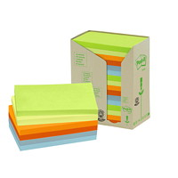 Post-it 100% Recycled Note Tower Pack in Assorted Colours, Rectangular, 16/PK