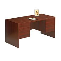 Global Genoa Double-Pedestal Desk, Mahogany, 60